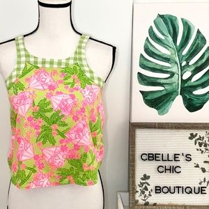 Lilly Pulitzer Girls Button Tank Top Pink/Green 12